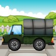 Stock Vector: A big green truck