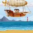 Vector de stock : A boy and a girl riding an airship
