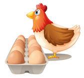 A hen and her dozen of eggs — Stock Vector