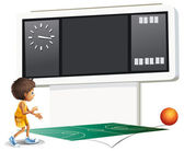 A boy playing basketball with a scoreboard — Stock Vector