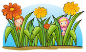 Two little girls hiding — Stock Vector