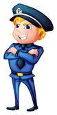A policeman in a complete uniform — Stock Vector