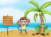 A monkey at the beach and the empty board — Stock Vector