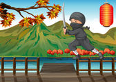 A gray ninja at the seaport — Stock Vector