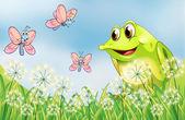 Frog and butterflies in the garden — Stock Vector