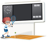 A boy playing tennis — Stock Vector