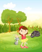A girl playing at the park with her cat — Stock Vector
