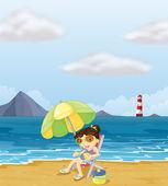 Pohodovou dívku na pláži — Stock vektor