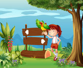A parrot and a girl beside a signboard in the forest — Stock Vector