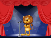A lion performing on stage — Stock Vector
