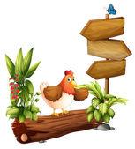 A chicken near the arrow board — Stock Vector