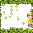 Stock Vector: Child on leafy frame