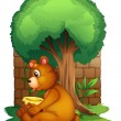 A bear sitting under a big tree — Stock Vector