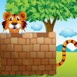 A tiger hiding on a pile of bricks — Stock Vector