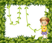 A child on a leafy frame — Stock Vector