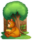 A bear sitting under a big tree — Vecteur