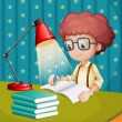 Vector de stock : A boy studying