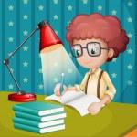 en pojke som studerar — Stockvektor