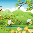 Stock Vector: Bees near the mountain