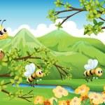 Bees near the mountain — Stock Vector #21243545