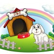 A dog in a dog house with fence — Stock Vector