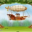 Stock Vector: Kids riding in airship