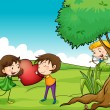 A girl and a boy holding a red heart - Stockvectorbeeld