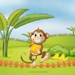 A monkey running away with bananas — Stok Vektör