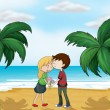 Stock Vector: Lovers at beach