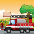 A red utility truck and the signboard at the street - Imagen vectorial