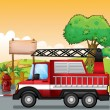 Royalty-Free Stock Vector Image: A red utility truck and the signboard at the street
