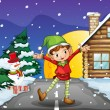 An elf enjoying the snow — Stock Vector
