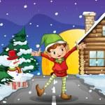 An elf enjoying the snow — Stock Vector