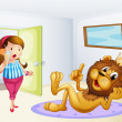 A fat lady and a lion inside a room — Stock Vector #21243823