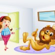 A fat lady and a lion inside a room — Stock Vector