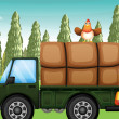 A chicken above a truck - Stock Vector