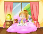 A girl writing inside her room — Stock Vector