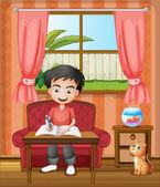A young boy writing — Stock Vector