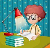 A boy studying — Stock Vector