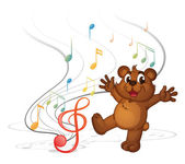 A dancing bear and the musical notes — Stock Vector