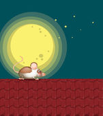A rat at the rooftop — Stock Vector