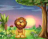 Mutlu bir yüz aslan — Stok Vektör