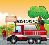 A red utility truck and the signboard at the street — Stock Vector