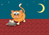 A cat and a rat at the rooftop — Stock Vector