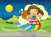 Three kids riding on a car passing over the rainbow — Stock Vector