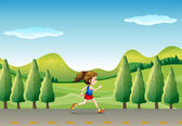 A girl jogging at the street with trees — Stock Vector