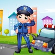 A policeman with a police car along the street — Stock Vector #21278315