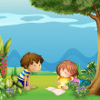 A boy with a girl reading in the garden — ストックベクタ