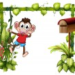 A monkey with a wooden mailbox — Imagen vectorial