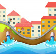 Village with three childrens running along drainage — Stock Vector #21278381